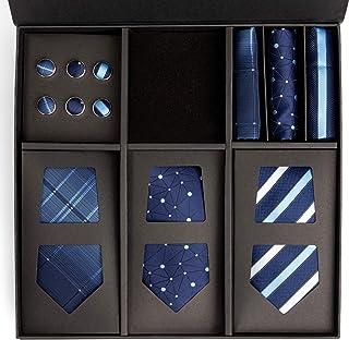 مجموعة ربطات العنق الحريرية للرجال مع مربعات جيب وأزرار أكمام - ربطة عنق زرقاء، منديل، ووصلة أكمام صندوق هدايا للرجال، 3 إ...