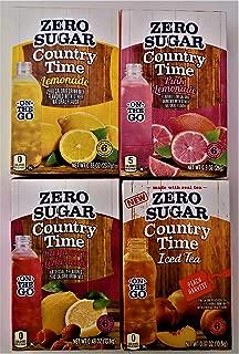 Country Time Variety Bundle Zero Sugar Drink Mix. Pack of Four. One of each Flavor: Lemonade, Pink Lemonade, Raspberry Lemonade & Peach Tea
