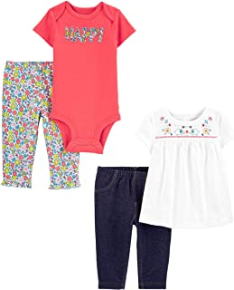 Baby Girls' 4-Piece Bodysuit and Pant Set