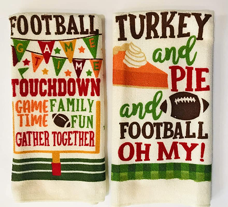 Perfect Harvest Kitchen Towels 2 Pack Turkey Pie Football