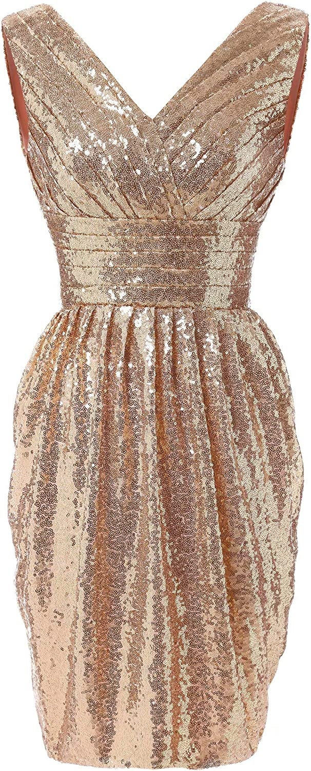 Honeywedding Women's Short Sparkling Sequins Pleated Cocktail Dress Evening Dresses