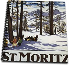 """3dRose db_170744_2 St. Moritz Winter Scene with People Skiing & Horse Drawn Sleigh Memory Book, 12 by 12"""""""