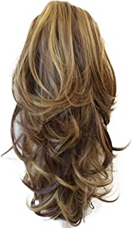 """PRETTYSHOP 14"""" Hair Piece Pony Tail Clip On Extension Voluminous Wavy Heat-Resisting Brown Blonde Mix # 33H27 H95"""