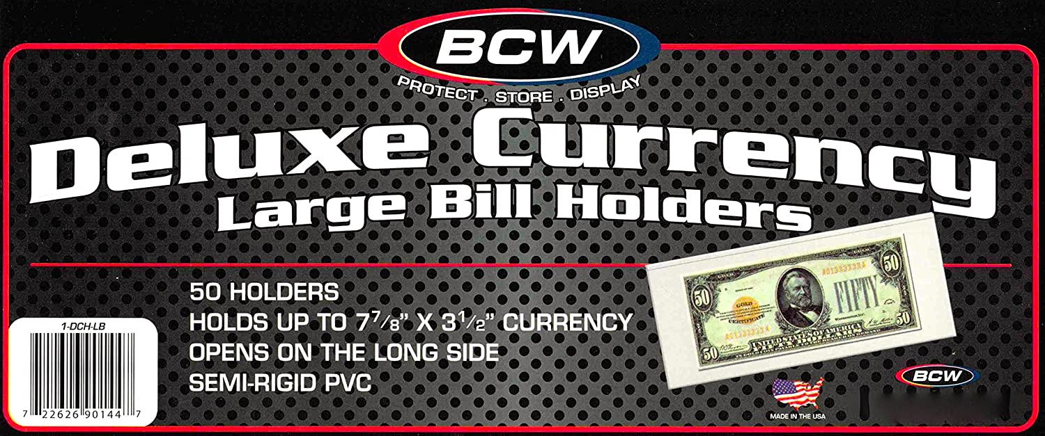 100 Deluxe Semi Rigid Currency BCW Large Bill Money Holder