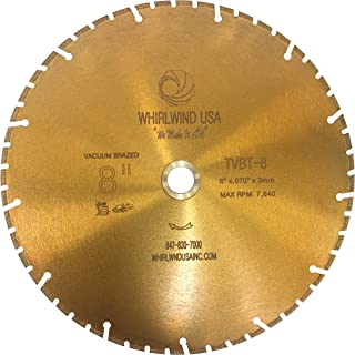 Whirlwind USA TVBT 8 in. All Purpose Metal Cutting Dry or Wet Cutting Vacuum-Brazed Segmented Diamond Blades for Metal and Plastic Materials (Factory Direct Sale) (8