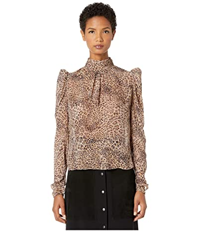 ML Monique Lhuillier Long Sleeve Top with Gathers at Front and Back Neck (Camel Multi) Women