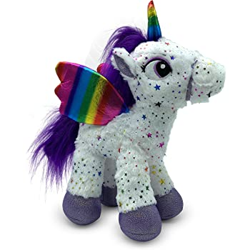 LittleFoot Nation Bright & Shiny 13'' Big Plush Sparkle Standing Unicorn Toy, Soft Rainbow Pegasus Alicorn Stuffed Animal with Wings for Kids (White)
