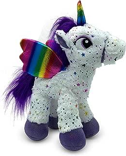 LittleFoot Nation Bright & Shiny 13'' Big Plush Sparkle Standing Unicorn Toy, Soft Rainbow Pegasus Alicorn Stuffed Animal with Wings for Kids (White)