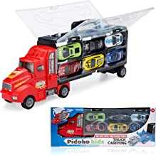 Pidoko Kids Transport Car CarrierTruck with Wheels - Die Cast Cars - Limited Edition Hot Toy Play Set Gift for Boys 3 Year Old and Up - Assorted Truck Colors (Red / Blue)