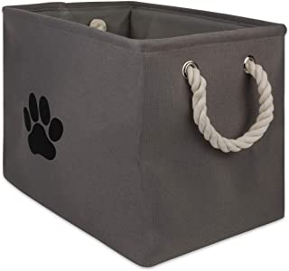Bone Dry DII Small Rectangle Pet Toy and Accessory Storage Bin, 14x8x9, Collapsible Organizer Storage Basket for Home Déco...