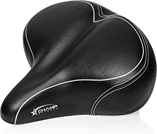 Champ Outdoor Comfortable Bike Seat Oversized Wide Padded Bicycle Seats for Comfort Men and Women Replacement Bike Saddle for Road Cycling or Indoor Exercise or Mountain or Beach Cruiser Bikes