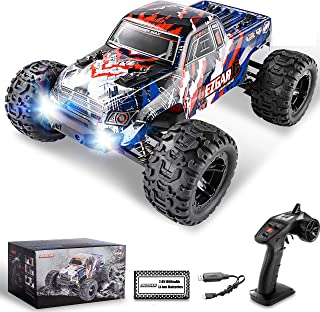 BEZGAR 7 Hobbyist Grade 1:16 Scale Remote Control Truck, 4WD High Speed 42 Km/h All Terrains Electric Toy Off Road RC Monster Vehicle Car Crawler with Rechargeable Batteries for Boys Kids and Adults