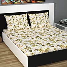 Divine Casa - Floral 144 Tc 100% Cotton Unique Design and Light Weight Double Bedsheet with 2 Pillow Covers, Green