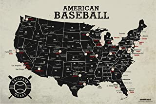 GeoJango Baseball Stadium Map Poster - Vintage Edition (24Wx16H inches)