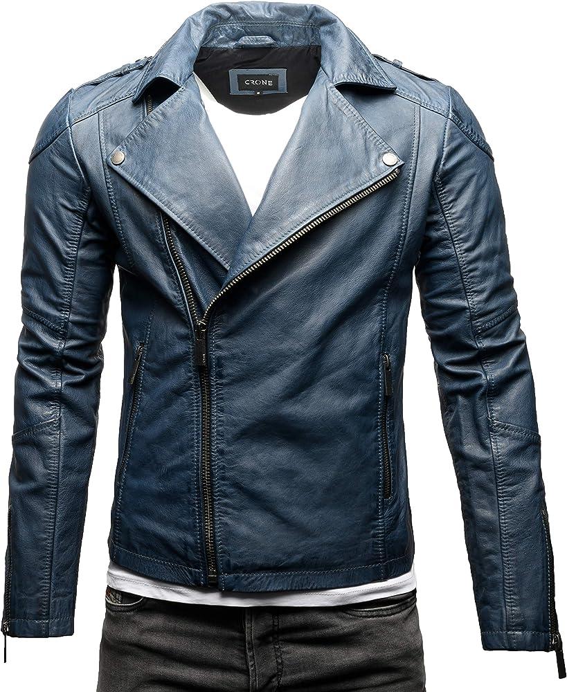 Crone theo basic biker giacca in pelle bovina morbida Steel Blue