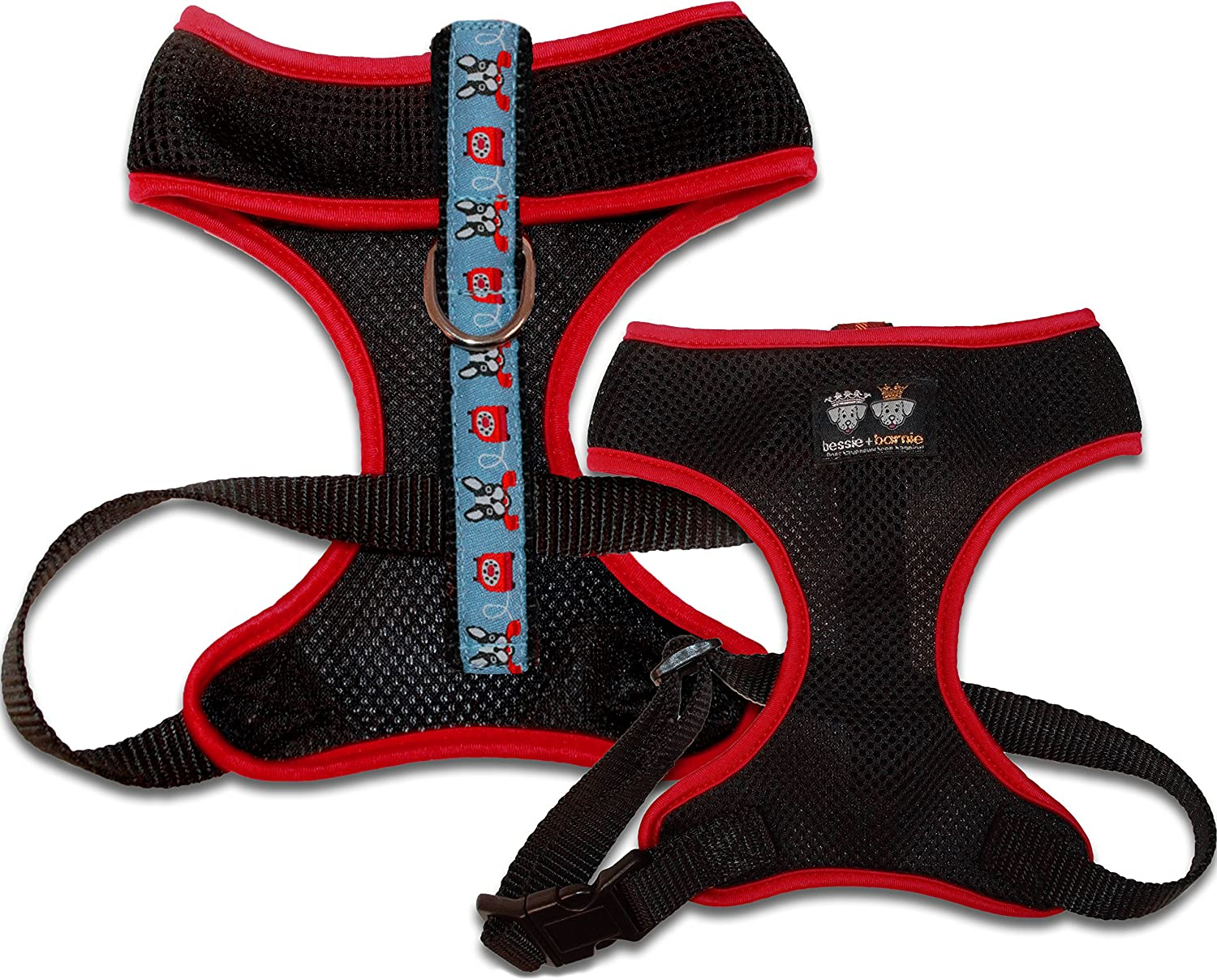 Bessie and Barnie Signature Air Comfort Mesh Luxury Black Doggie Dials Red Pet Dog Durable Adjustable Harness (Multiple Sizes)