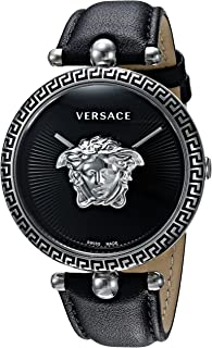 Women's Palazzo Empire Stainless Steel Swiss-Quartz Watch with Leather Calfskin Strap, Black, 110.7 (Model: VCO060017)