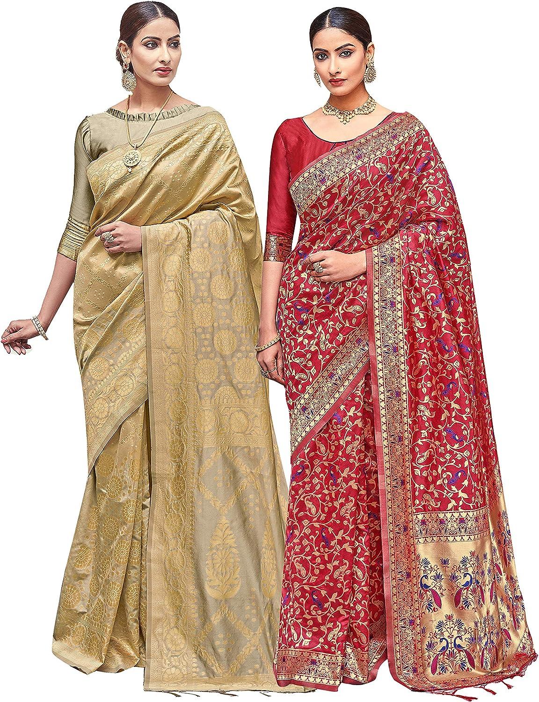 Pack of Two 信託 Sarees 宅送 for Women Silk In Saree Banarasi Art Woven