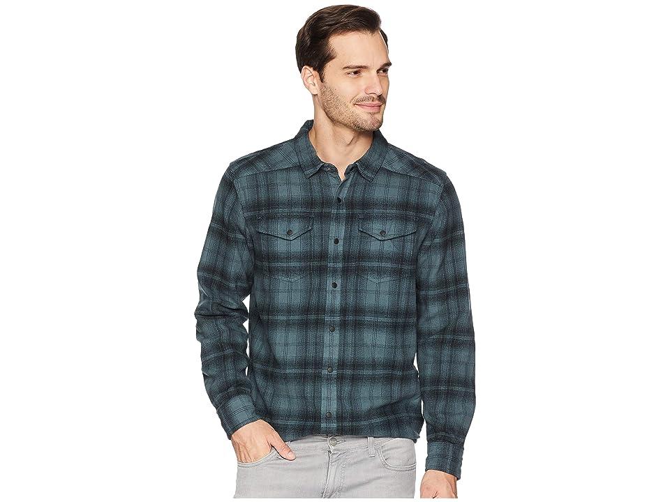 Prana Horizon Long Sleeve Flannel Shirt (Weathered Blue) Men