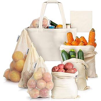Paquete De 10 Bolsas reutilizables producir bolsas de malla para almacenamiento de información de la compra de comestibles fruta