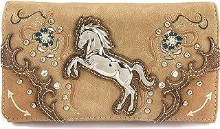 Zelris Floral Poppy Horse Western Women Crossbody Wrist Trifold Wallet (Tan)