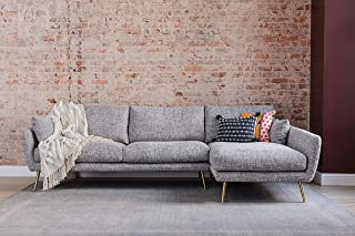 Edloe Finch Modern Sectional Sofa Right Facing Chaise Down Feather Cushions, Grey