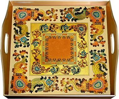 Decorative Tray for Home Décor - Traditional Italian Style with Flowers and Old Gold Leaves - Square Hand Painted Glass Tray