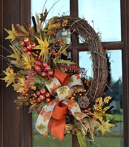 Fall Maple Leaves Grapevine Wreath