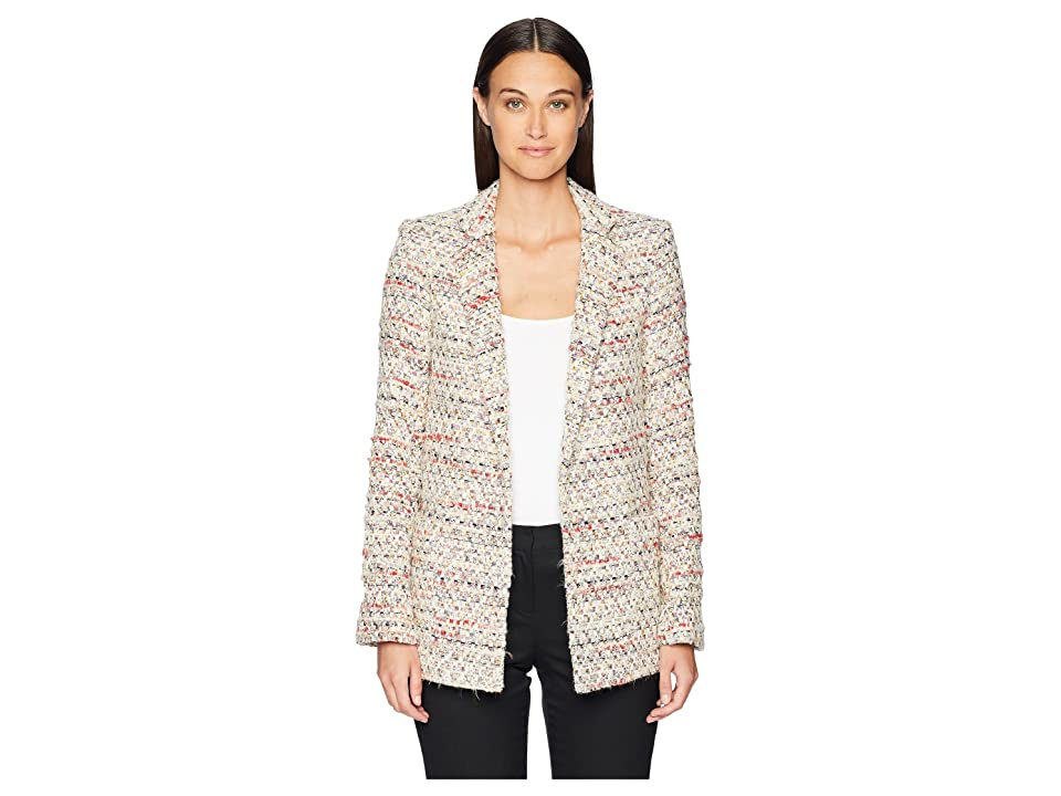 Image of Adam Lippes Cotton Tweed Long Blazer (Ivory Multi) Women's Coat