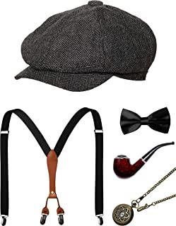 1920s Mens Accessories Gatsby Men Costume Gangster Hat Suspenders Bow Tie Pocket Watch
