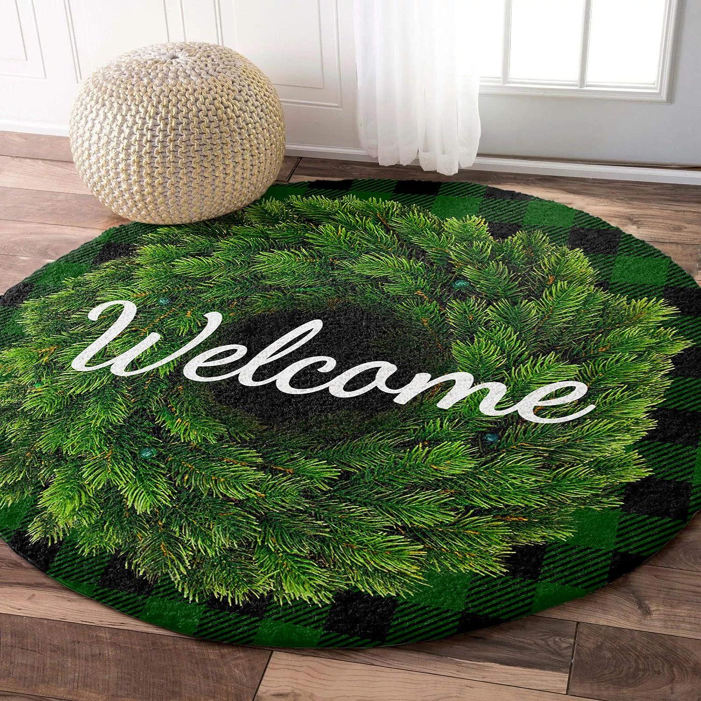 LEOSUCRE Round Fluffy Area Sacramento Mall Rugs Wreath Cir Welcome Carpet Grass Minneapolis Mall