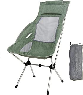 MARCHWAY Lightweight Folding High Back Camping Chair with Headrest, Portable Compact for Outdoor Camp, Travel, Picnic, Festival, Hiking, Backpacking (Light Green) (Renewed)