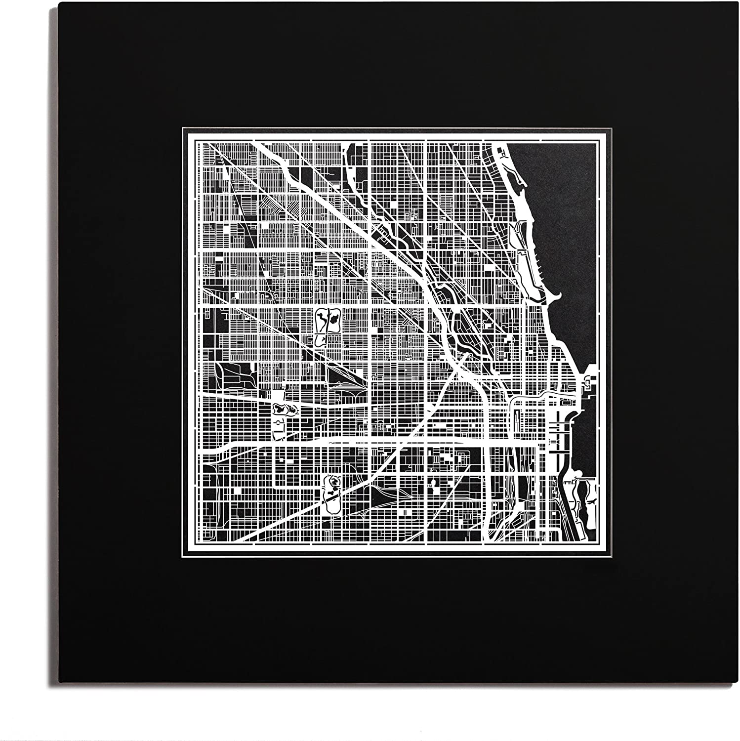 O3 Design Studio Chicago Paper Cut Shipping included Matted 20x20 Black 2021 new Map inches