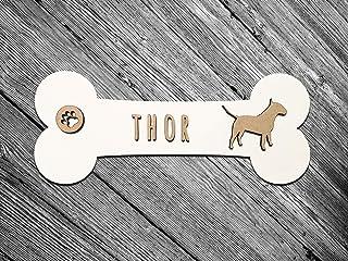 KARIVOO targa in legno a forma di osso personalizzato con nome e razza per cani