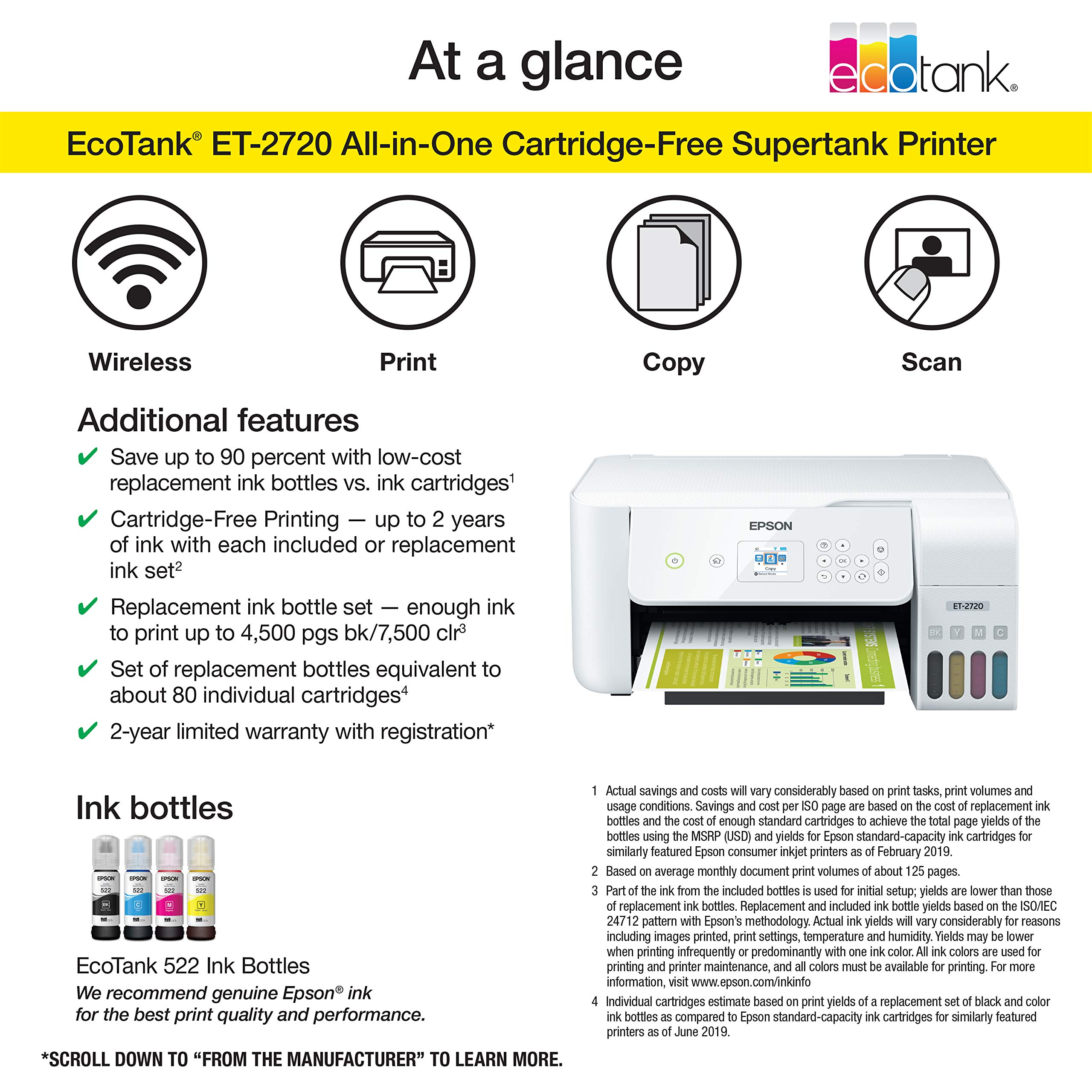 Epson Ecotank Et 2720 Wireless Color All In One Supertank Printer With Scanner And Copier White Amazon Sg Office School Supplies