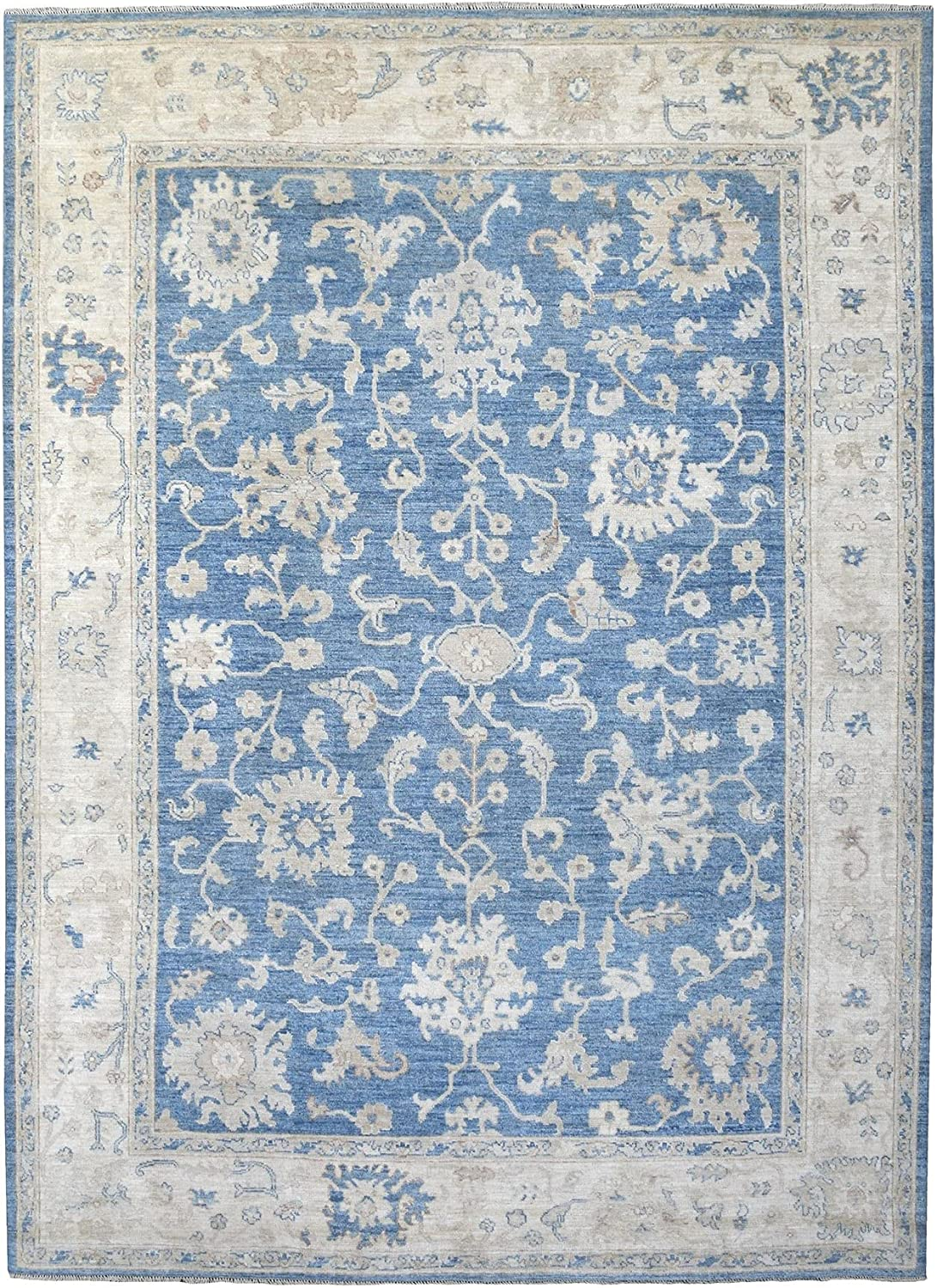 Shahbanu Rugs Hand Knotted Denim Max 79% OFF Oushak Blue Extremely Lowest price challenge Angora Du