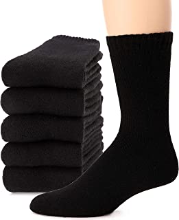 Mens Wool Socks Thermal Heavy Thick Warm Fuzzy Boot Winter Long Socks For Cold Weather 5 Pack