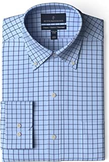 "Buttoned Down Men's Classic Fit Button Collar Pattern Non-Iron Dress Shirt, Light Blue/Navy Windowpane Check 15"" Neck 33"" Sleeve"