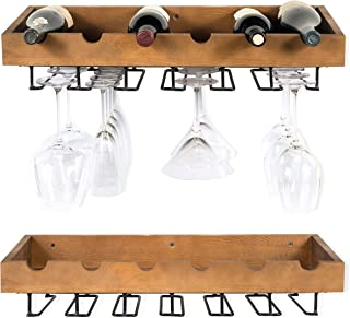 Rustic State ArtifactDesign Wall Mounted Wood Wine Rack for Bottles with Stemware Glass Storage (2, Walnut Stained)