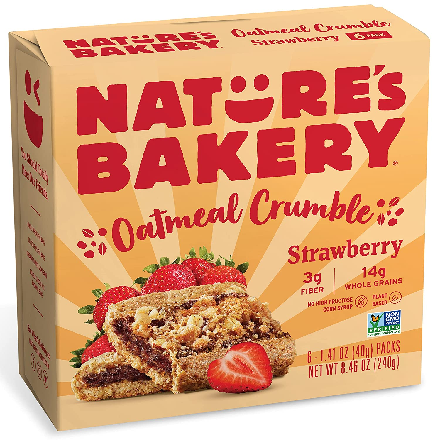 Nature's Bakery Nature's Bakery Oatmeal Crumble Bars, Strawberry, Real Fruit, Vegan, Non-Gmo, Breakfast bar, 1 Box With 6 Bars, 6Count