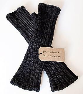 Manicotti neri da donna in pura lana vergine