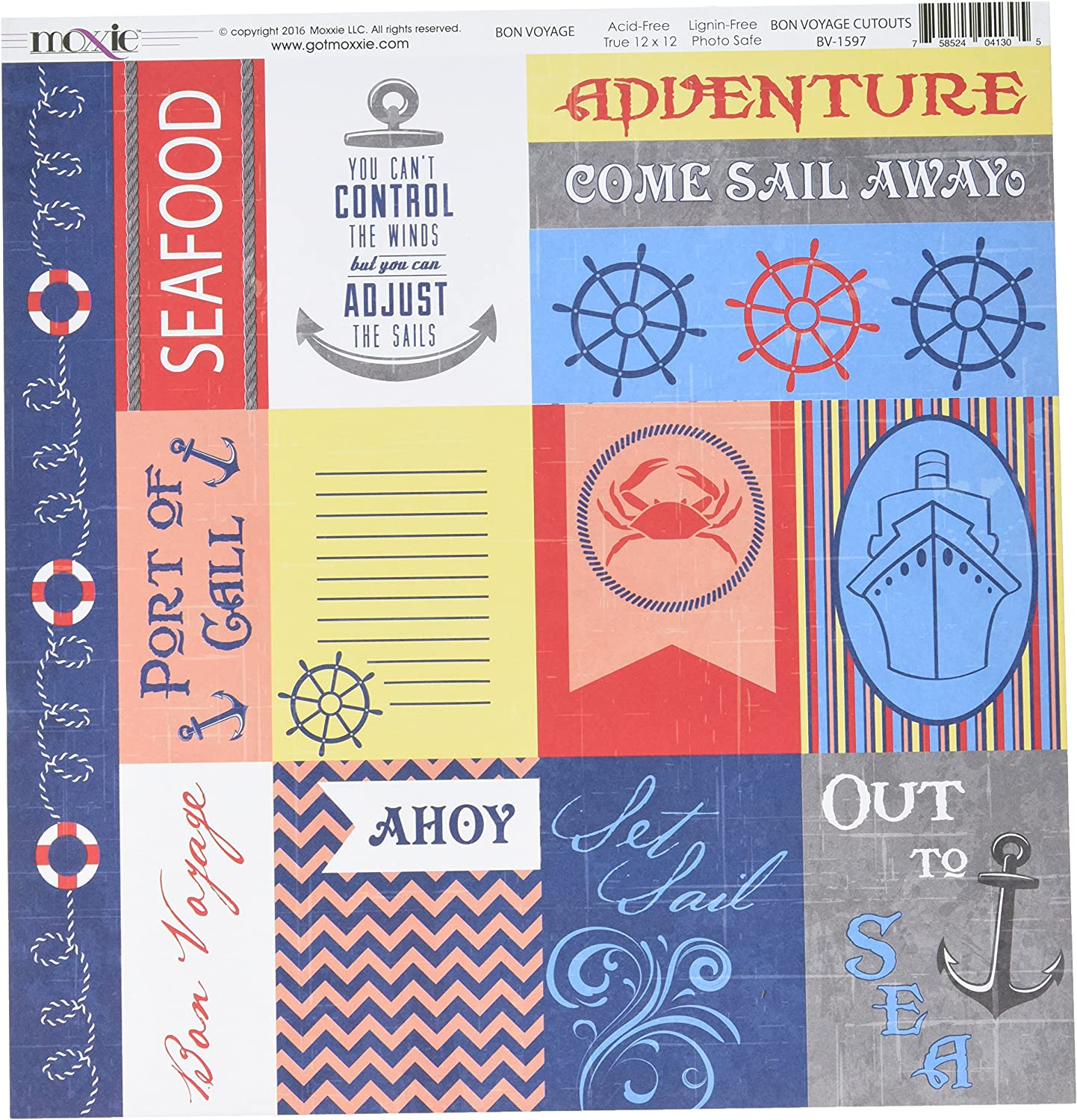 Super sale Moxxie BV-1597 25 Sheet Bon Voyage Cutouts All stores are sold Double-Sided Cardstoc