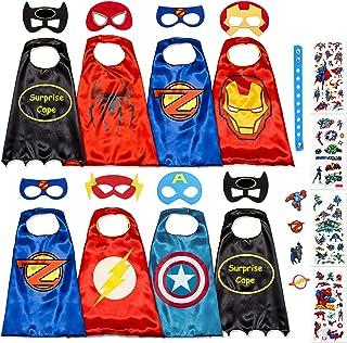 Disfraz De Superhéroes para Niño - Regalos De Cumpleaños para Niña - 8 Capas Y Máscaras - Juguetes para Niños Y Niñas - Logo Brillante de Captain America y Spiderman