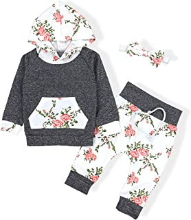 Baby Girls Long Sleeve Flowers Hoodie Tops and Pants Outfit with Kangaroo Pocket Headband