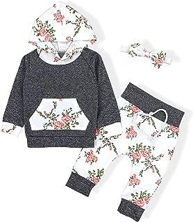 Baby Girls Long Sleeve Flowers Hoodie Tops and Pants...
