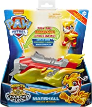 PAW PATROL 6056841 Mighty Pups Charged Up Marshall's Deluxe Fahrzeug mit Licht und Sounds, Mehrfarbig