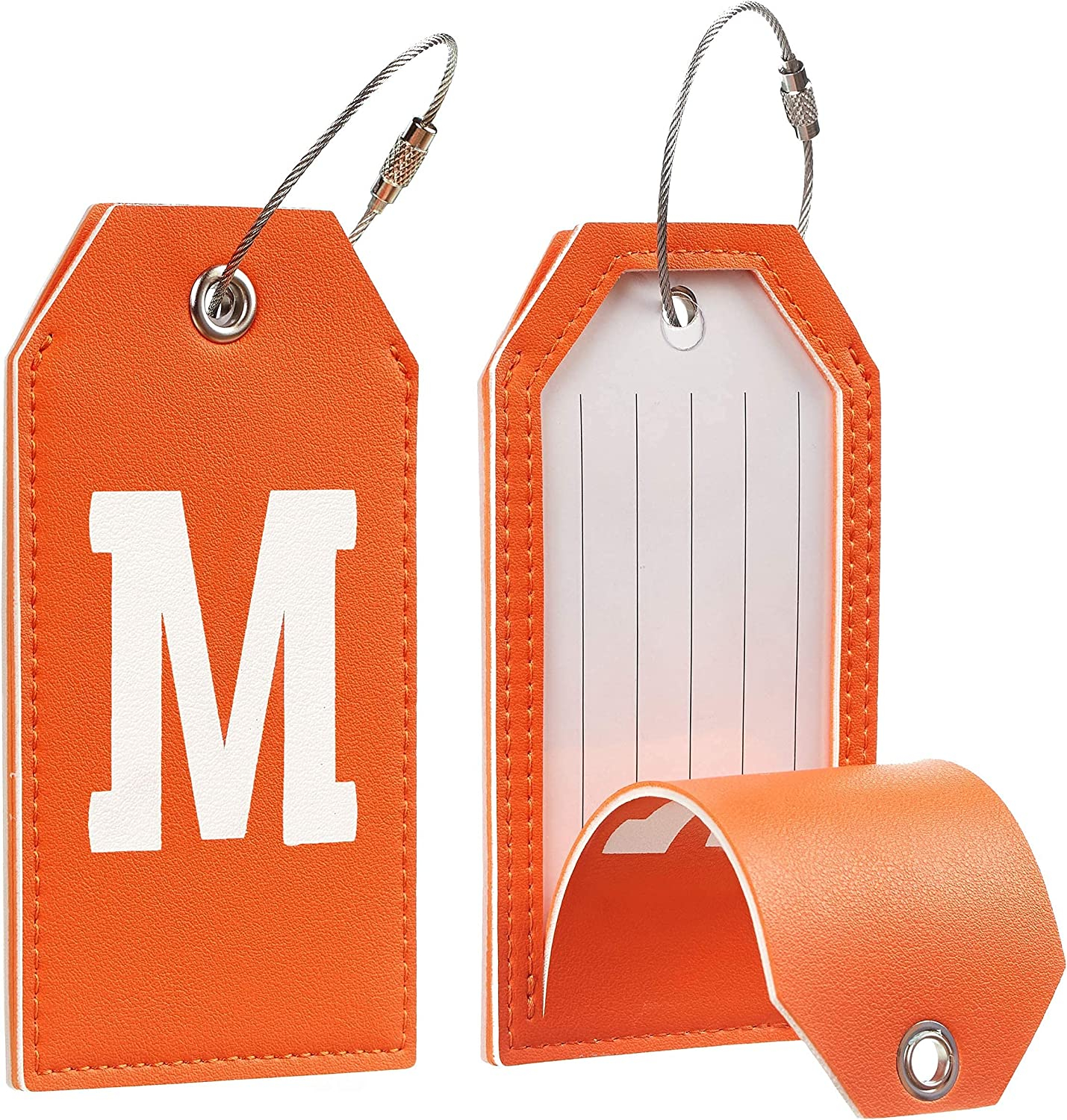 Toughergun Initial Letter Luggage Tag with Leather Full Privacy Free shipping cheap New