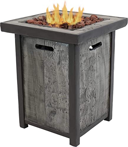 wholesale Sunnydaze Square Outdoor Propane Gas Fire Pit Table with Weathered Wood Look - Outdoor Smokeless Cast Stone Gas Fire Pit new arrival Column - Ideal for online Yard, Patio or Garden - 25 Inches Tall online sale