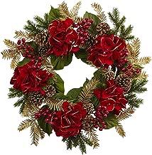 "Nearly Natural 4552 24"" Hydrangea Pine Wreath"