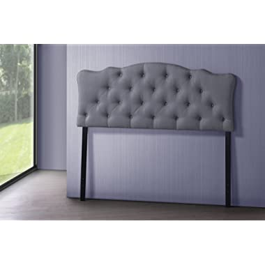 Baxton Studio Wholesale Interiors Rita Modern and Contemporary Fabric Upholstered Button-Tufted Scalloped Headboard, Queen, Grey